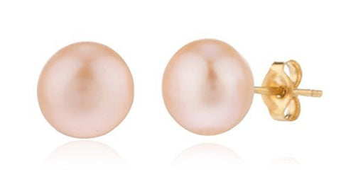 Real 14k Yellow Gold Simulated Pearl Stud Earrings With Pushbacks ( 7 Millimeters)