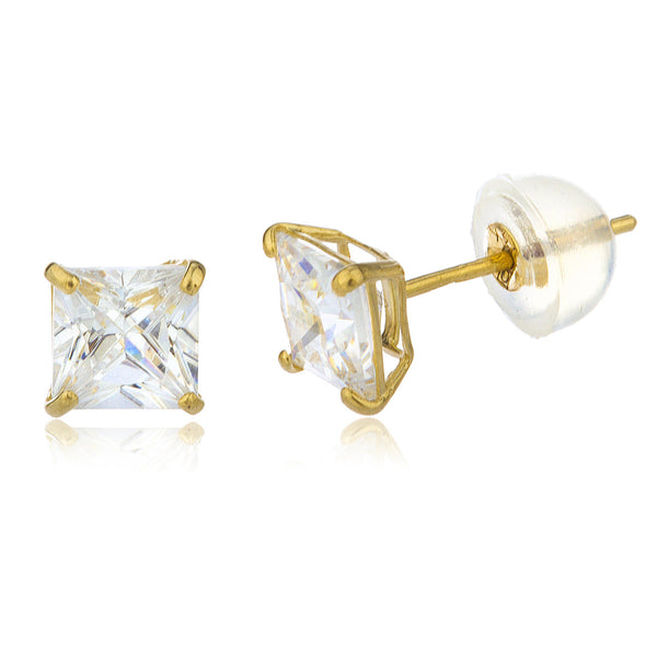 Real 14k Yellow Gold Square Basket Setting Cz Stud Earrings With Silicone Back - All Sizes Available