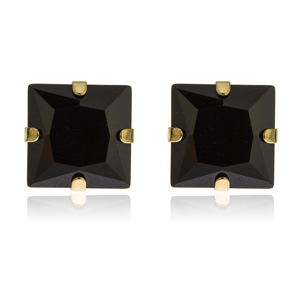 Real 14k Yellow Gold Square Black 7mm Stud Earrings With Silicone Back