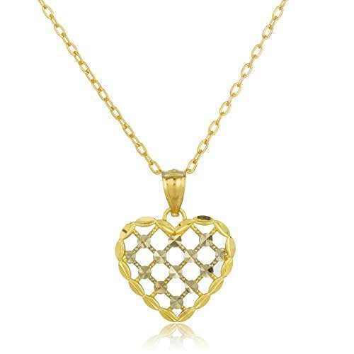 Real 14k Yellow Gold Two Tone Caged Hearts Design Pendant With An 18 Inch Gold Layered Link Chain Necklace
