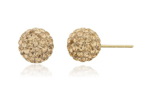 Real 14k Yellow Gold With Amber 6mm Preciosa Crystals Stud Earrings