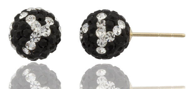 Real 14k Yellow Gold With Black And White Design 8mm Preciosa Crystals Stud Earrings