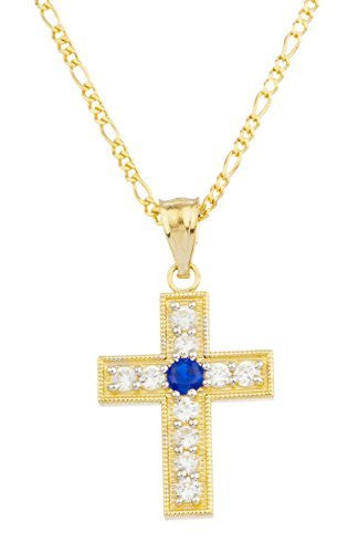 Real 14k Yellow Gold With Blue Center Stone Cross Pendant With An 18 Inch Gold Layered Figaro Chain Necklace