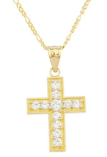 Real 14k Yellow Gold With Clear Center Stone Cross Pendant With An 18 Inch Gold Layered Figaro Chain Necklace