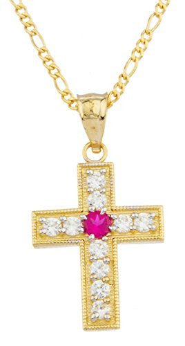 Real 14k Yellow Gold With Fuchsia Center Stone Cross Pendant With An 18 Inch Gold Layered Figaro Chain Necklace
