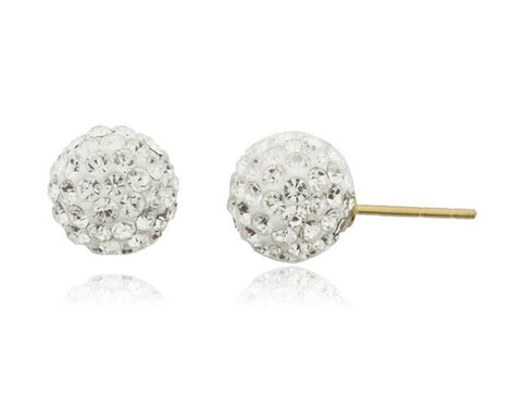 Real 14k Yellow Gold With White 6mm Preciosa Crystals Stud Earrings