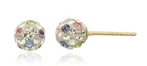 Real 14k Yellow Gold With White And Multicolors 5mm Small Preciosa Crystals Stud Earrings