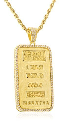 Real 925 'Gold Plated Bar' Pendant With Clear Cz Stones And A 3mm 24 Inch Rope Necklace