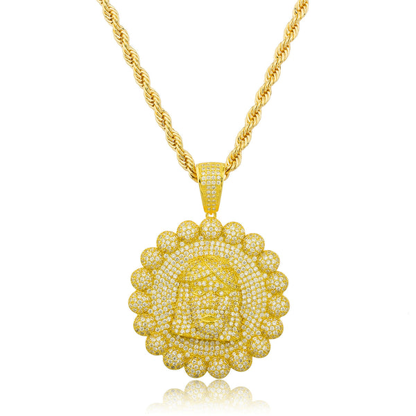 Real 925 Gold Plated Sterling Silver Jesus Bordered Pendant With Cz Stones And A 30 Inch Brass Rope Necklace