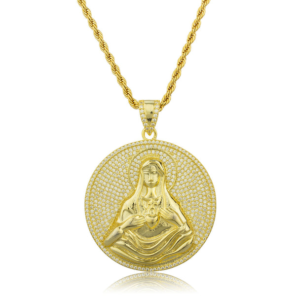 Real 925 Gold Plated Sterling Silver Virgin Mary Disc Pendant With Cz Stones And A 30 Inch Brass Rope Necklace