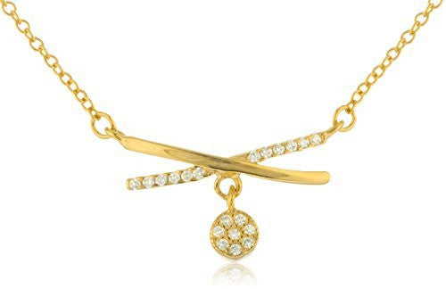 "Real 925 Goldtone Sterling Silver Criss Cross ""X"" Pendant 18 Inch Necklace"