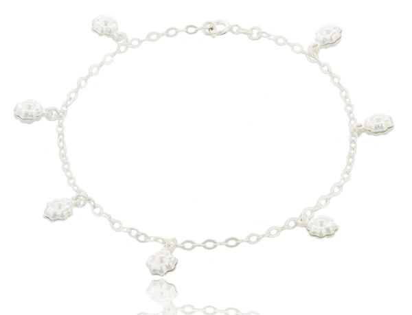 Real 925 Italy Sterling Silver Flower Style Charms 9.5 Inch Figaro Anklet
