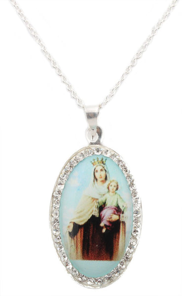 Real 925 Italy Sterling Silver Iced Out Mount Carmelite Oval Pendant With A 16 Inch Link Necklace