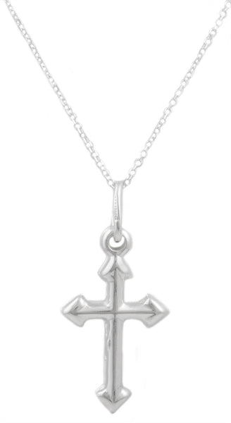 Real 925 Italy Sterling Silver Pointed Cross Pendant With An 18 Inch Link Necklace