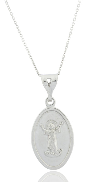 Real 925 Rhodium Plated Silver Large Baby Jesus Charm With An 18 Inch Link Necklace