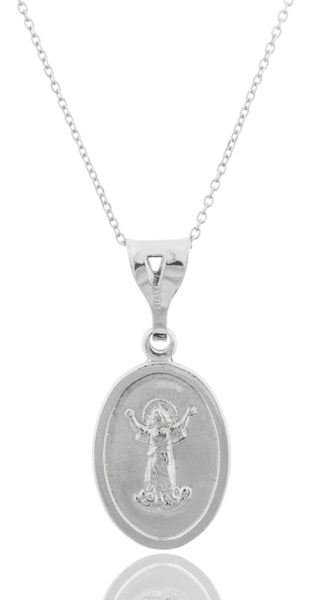 Real 925 Rhodium Plated Silver Medium Baby Jesus Charm With An 18 Inch Link Necklace