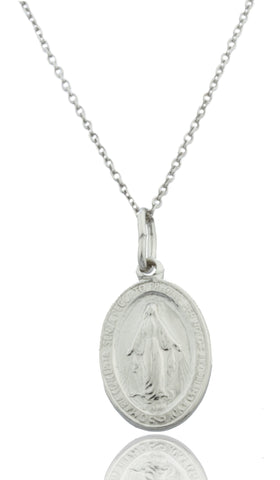 Real 925 Rhodium Plated Silver Medium Mother Mary Miracle Charm With An 18 Inch Link Necklace