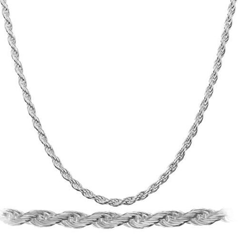 Real 925 Rhodium Plated Sterling Silver 1.5mm Rope Chain Necklace - All Lengths Available (18 Inches)