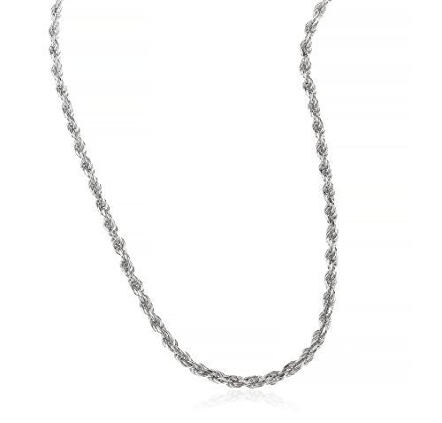 Real 925 Rhodium Plated Sterling Silver 3mm Rope Chain Necklace - All Lengths Available (30 Inches)