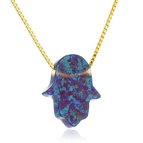 Real 925 Sterling Gold Plated Dark Blue Created Opal Hamsa Pendant With An 18 Inch Box Necklace