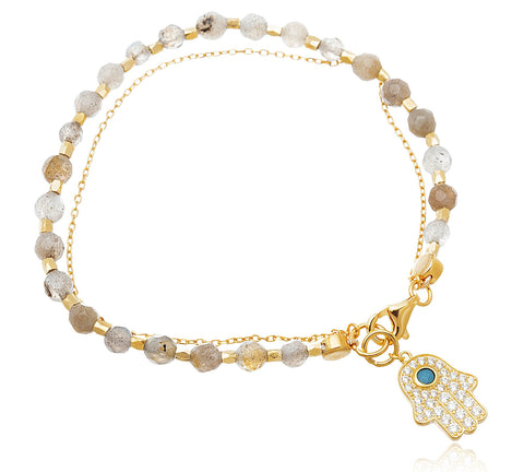 Real 925 Sterling Gold-Plated Hamsa Charm Bracelet With Cubic Zirconia (Light Grey)