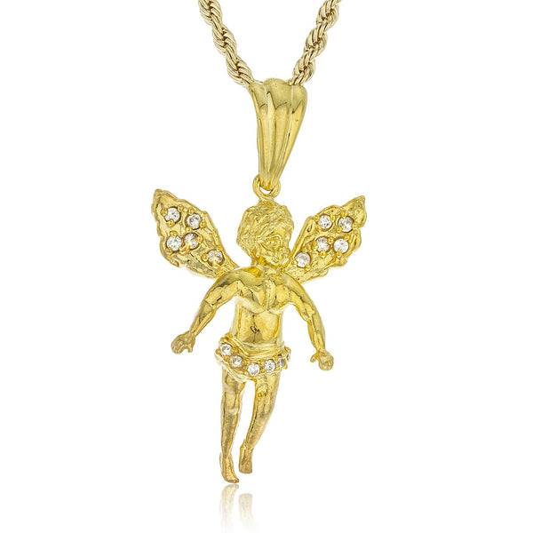 Real 925 Sterling Goldtone Angel Pendant With Czs And A 3mm 24 Inch Rope Chain Necklace