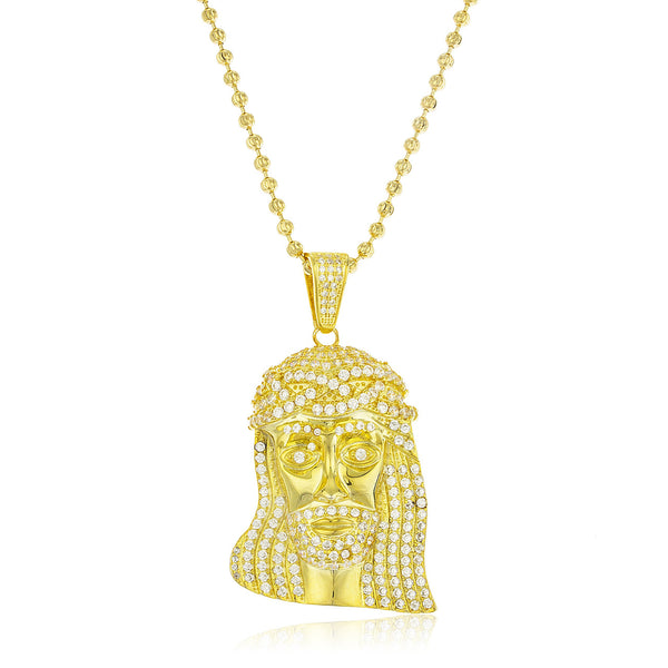 Real 925 Sterling Goldtone Cubic Zirconia Iced Out Jesus Face Pendant With 3mm 30 Inch Moon Cut Brass Necklace