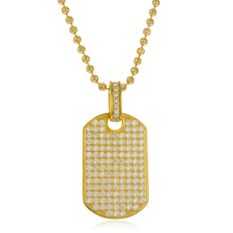 Real 925 Sterling Goldtone Fully Iced Out Cubic Zirconia Large Dog Tag Pendant With A 4mm 24 Inch Brass Moon Cut Necklace