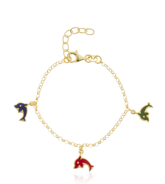 Real 925 Sterling Goldtone With Multicolor Dolphin Charms Adjustable 6 Inch Baby Bracelet