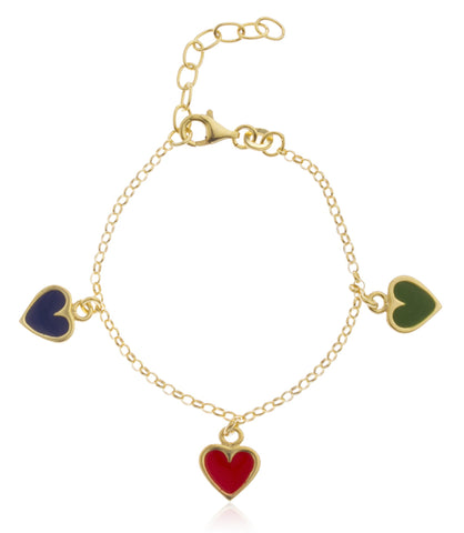 Real 925 Sterling Goldtone With Multicolor Hearts Charms Adjustable 6 Inch Baby Bracelet