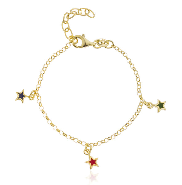 Real 925 Sterling Goldtone With Multicolor Star Charms Adjustable 6 Inch Baby Bracelet