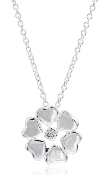 Real 925 Sterling Heart Shape Flower Pendant With A 16 Inch Link Necklace