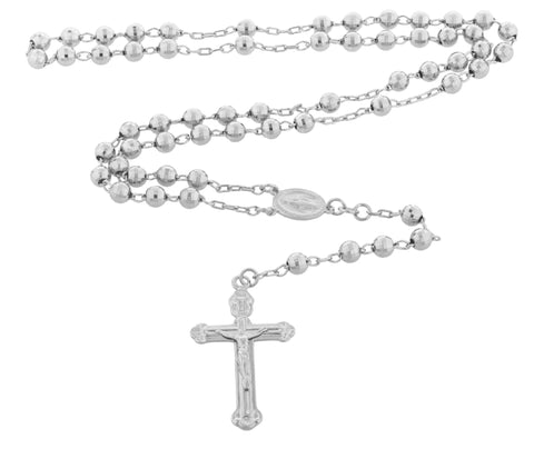 REAL 925 STERLING JESUS CROSS AND MOTHER MARY CHARM WITH A 32 INCH 6MM BEADED ROSARY NECKLACE