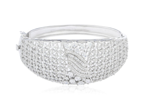 Real 925 Sterling Rhodium Plated Bridal Bangle With Cubic Zirconia And Mini Baguette Stones