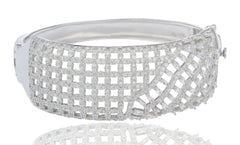 Real 925 Sterling Rhodium Plated Square Style Bridal Bangle With Cubic Zirconia And Mini Baguette Stones