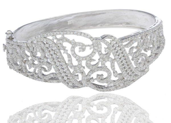 Real 925 Sterling Rhodium Plated Vine Style Bridal Bangle With Cubic Zirconia Stones