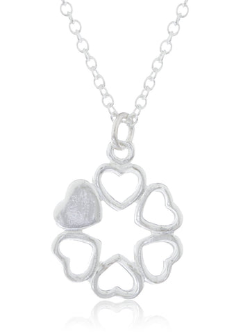 Real 925 Sterling Round Mini Hearts Pendant Adjustable 16 Inch Link Necklace