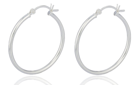Real 925 Sterling Silver 1.25 Inch Hoop Earrings