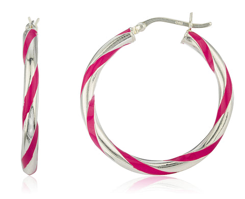 Real 925 Sterling Silver 1.25 Inch Spiral Enamel Color Hoop Earrings (Silver W/ Pink)