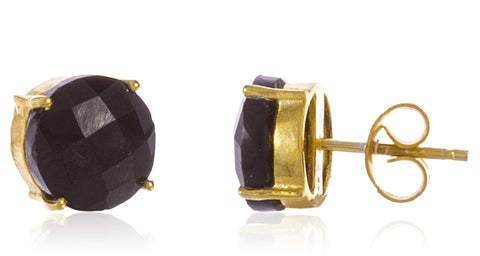 Real 925 Sterling Silver 10mm Semi Precious Stone Stud Earrings (Goldtone/Black)