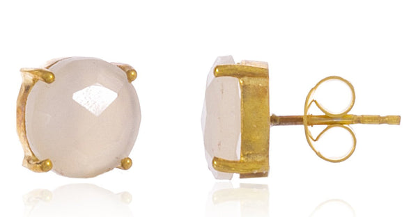 Real 925 Sterling Silver 10mm Semi Precious Stone Stud Earrings (Goldtone/White)