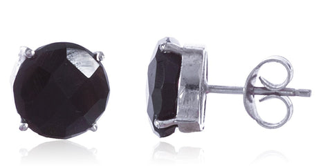 Real 925 Sterling Silver 10mm Semi Precious Stone Stud Earrings (Silver/Black)