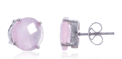 Real 925 Sterling Silver 10mm Semi Precious Stone Stud Earrings (Silver/Pink)