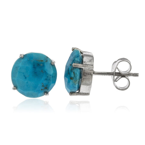 Real 925 Sterling Silver 10mm Semi Precious Stone Stud Earrings (Silver/Turquoise)