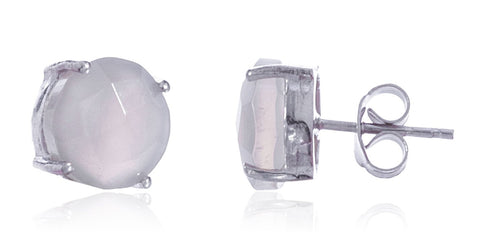 Real 925 Sterling Silver 10mm Semi Precious Stone Stud Earrings (Silver/White)