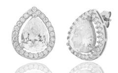 Real 925 Sterling Silver 11mm 3D Tear Drop Halo Stud Earrings With Cubic Zirconia Stones
