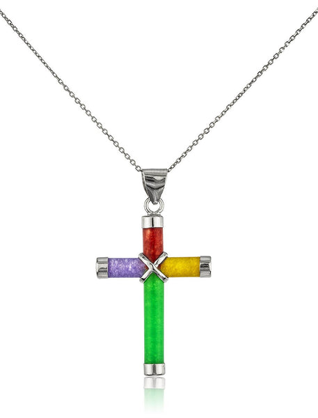 Real 925 Sterling Silver 18 Inch Necklace With Cross Jade Pendant (Multi)