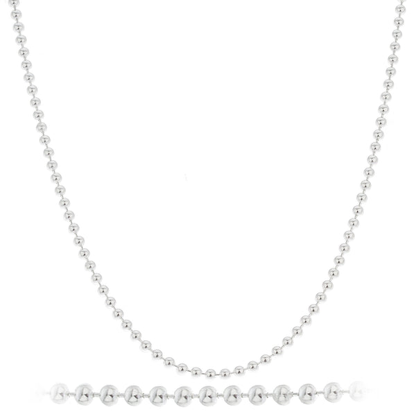 Real 925 Sterling Silver 2.5mm Ball Bead Chain - Made In Italy