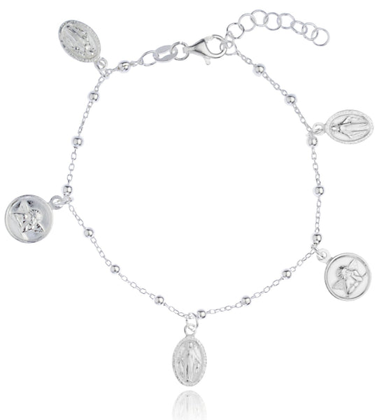 Real 925 Sterling Silver 2.5mm Regina Sine Labe Originali OPN And Angel Adjustable Charm Bracelet