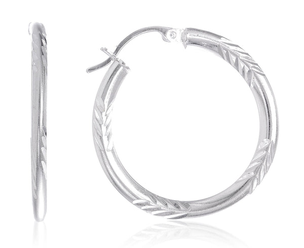 Real 925 Sterling Silver 2mm D.Cut Style Pincatch Hoop Earrings - Available In Two Sizes (28 Millimeters)